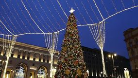 Christmas New Year holidays decoration in Moscow at night, Russia. Lubyanskaya Lubyanka Square stock footage