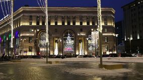 Christmas New Year holidays decoration in Moscow at night, Russia. Lubyanskaya Lubyanka Square stock video footage
