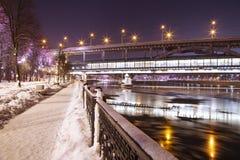 Christmas New Year holidays decoration in Moscow at night, Russia-- Luzhnetskaya Bridge Metro Bridge royalty free stock image