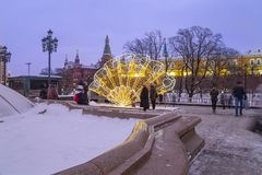 Christmas New Year holidays decoration in Moscow at night, Russia-- Manege Square near the Kremlin stock images