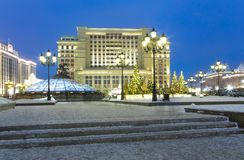 Christmas New Year holidays decoration in Moscow at night, Russia-- Manege Square near the Kremlin royalty free stock photo