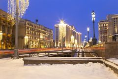 Christmas New Year holidays decoration in Moscow at night, Russia-- Manege Square near the Kremlin stock photo