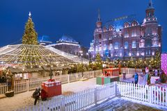 Christmas New Year holidays decoration in Moscow at night, Russia-- Manege Square near the Kremlin stock image