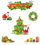 Christmas and New Year holidays decoration set Stock Photos