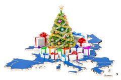 Christmas and New Year holidays in Europe concept. 3D rendering Stock Photos