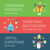 Christmas New Year holidays flat style web icon banner concept. Infographics elements template. Christmas presents decorations gifts joyful fun decoration Stock Photos