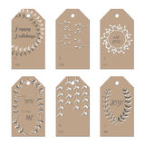 Christmas New Year Holidays gift tags set. Useful for wedding invitations, congratulations and greeting cards Royalty Free Stock Photography