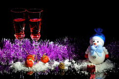 Christmas and New Year holidays, glasses of wine and champagne Royalty Free Stock Image