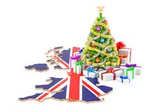 Christmas and New Year holidays in Great Britain concept. 3D. Rendering isolated on white background vector illustration