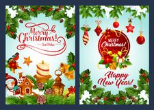 Merry Christmas and New Year winter holiday poster. Christmas and New Year holidays greeting poster set. Xmas gift, Santa bell and candle, star, cookie and vector illustration