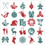 Christmas, New Year holidays icon big set. Flat style collection Stock Images