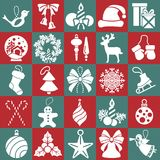 Christmas, New Year holidays icon big set. Flat style collection. Vector illustration Stock Images