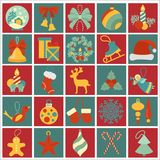 Christmas, New Year holidays icon big set. Flat style collection. Vector illustration Stock Photo