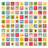 Christmas, New Year holidays icon big set. Flat style collection. Vector illustration Royalty Free Stock Images