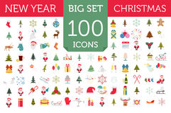 Christmas, New Year holidays icon big set. Flat style collection. Vector illustration Stock Image