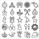 Christmas, New Year holidays icon big set. Flat style collection. Vector illustration Royalty Free Stock Photo