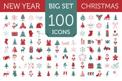 Christmas, New Year holidays icon big set. Red and green colours Stock Photo