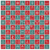 Christmas, New Year holidays icon big set. Thin line version. Fl Royalty Free Stock Image