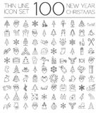 Christmas, New Year holidays icon big set. Thin line version. Fl Royalty Free Stock Photos