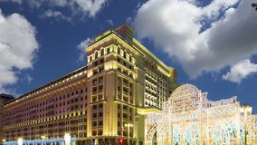 Christmas and New Year holidays illumination and Four Seasons Hotel at night. Moscow. Russia.  stock footage