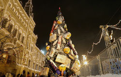 Christmas (New Year holidays) illumination Main Universal Store (GUM), Red Square in Moscow, Russia. Stock Image