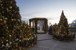 Christmas and New Year holidays illumination and Manege Square at night. Moscow, Russia.  Royalty Free Stock Image