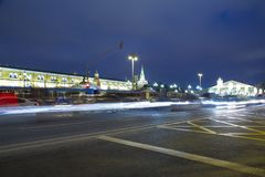Christmas and New Year holidays illumination and Manege Square at night. Moscow, Russia.  Royalty Free Stock Photos