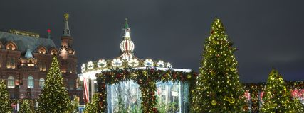 Christmas and New Year holidays illumination and Manege Square at night. Moscow, Russia.  Royalty Free Stock Photography