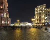 Christmas and New Year holidays illumination and Manege Square at night. Moscow, Russia.  Stock Photos