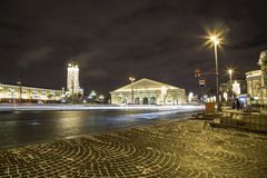 Christmas and New Year holidays illumination and Manege Square at night. Moscow, Russia.  Stock Images