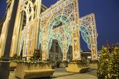 Christmas and New Year holidays illumination and Manege Square at night. Moscow, Russia.  Stock Photo
