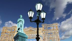 Christmas and New Year holidays illumination in Moscow city center Pushkin Square at night, Russia.  stock footage