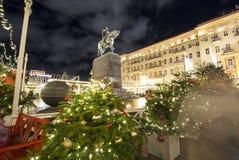 Christmas and New Year holidays illumination in Moscow city center on Tverskaya square at night. Yury Dolgoruky  Monument Stock Photography
