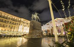 Christmas and New Year holidays illumination in Moscow city center on Tverskaya square at night. Yury Dolgoruky  Monument. Russia Royalty Free Stock Photos