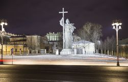 Christmas and New Year holidays illumination at night, Monument to Holy Prince Vladimir the Great on Borovitskaya Square in Moscow. Near the Kremlin, Russia royalty free stock photos