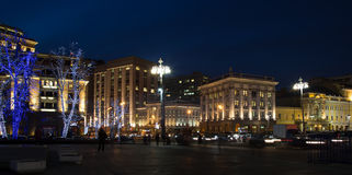 Christmas and New Year holidays illumination at night in Moscow Stock Photos