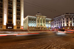 Christmas and New Year holidays illumination at night in Moscow, Russia Royalty Free Stock Image
