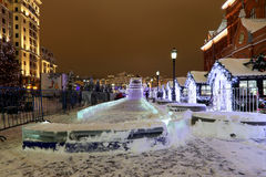 Christmas and New Year holidays illumination at night in Moscow, Russia Royalty Free Stock Images