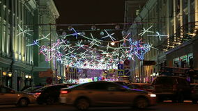 Christmas and New Year holidays illumination at night in Moscow, Russia stock video footage