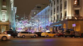 Christmas and New Year holidays illumination at night in Moscow, Russia stock footage