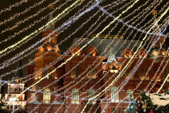 Christmas (New Year holidays) illumination at night, near the Kremlin  in Moscow, Russia Royalty Free Stock Images