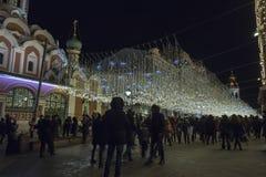 Christmas New Year holidays illumination on Nikolskaya Street near the Moscow Kremlin at night, Russia Stock Photos