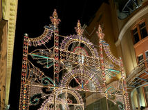 Christmas (New Year holidays) illumination on Nikolskaya Street near the Moscow Kremlin at night, Russia Stock Images