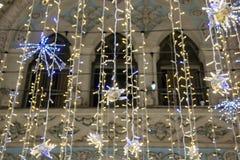 Christmas and New Year holidays illumination on Nikolskaya Street near the Moscow Kremlin at night, Russia royalty free stock photography