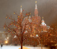 Christmas (New Year holidays) illumination and State Historical Museum at night, Red Square in Moscow, Russia Stock Photo