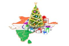 Christmas and New Year holidays in India concept. 3D rendering Royalty Free Stock Image