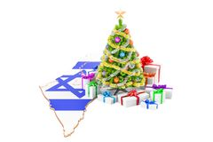 Christmas and New Year holidays in Israel concept. 3D rendering Stock Photos