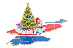 Christmas and New Year holidays in North Korea concept. 3D  Royalty Free Stock Photo
