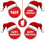 Christmas New Year and Holidays Sale Tag with Cap Stock Images