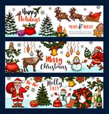 Christmas and New Year holidays sketch banner Stock Photo
